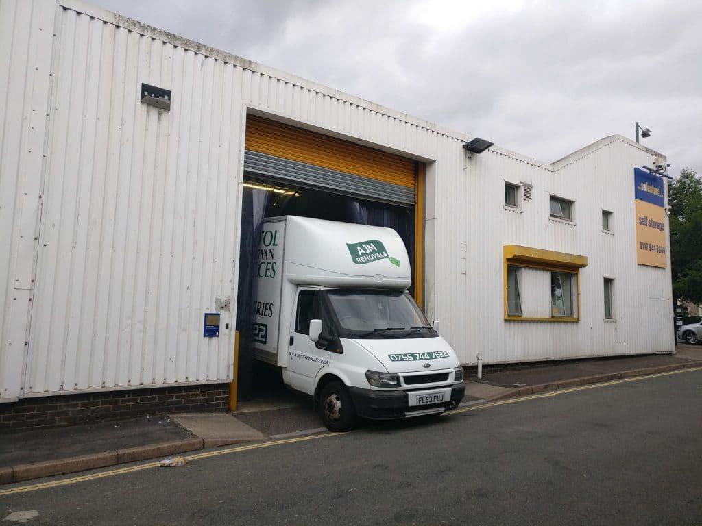 AJM Removals Van inside Storage Unit
